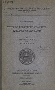 Cover of: Tests of reinforced concrete buildings under load