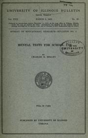 Cover of: Mental tests for school use