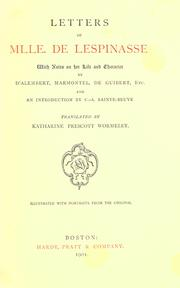 Cover of: Letters of Mlle. de Lespinasse