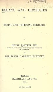 Cover of: Essays and lectures on social and political subjects