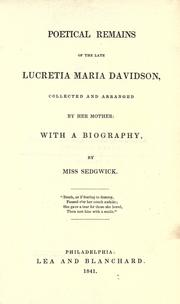 Cover of: Poetical remains of the late Lucretia Maria Davidson