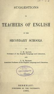 Cover of: Suggestions to teachers of English in the secondary schools