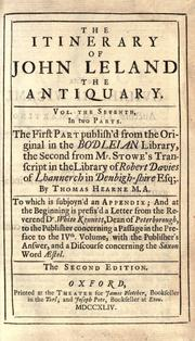 Cover of: The itinerary of John Leland