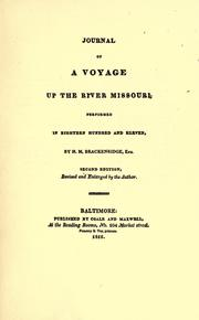 Cover of: Brackenridge's Journal of a voyage up the river Missouri in 1811