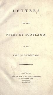 Cover of: Letters to the peers of Scotland