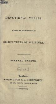 Cover of: Devotional verses by Bernard Barton