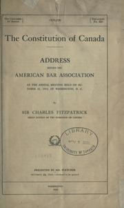 Cover of: The constitution of Canada
