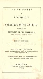 Cover of: Great events in the history of North and South America