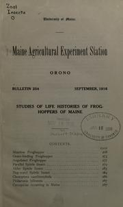Cover of: Studies of life histories of froghoppers of Maine