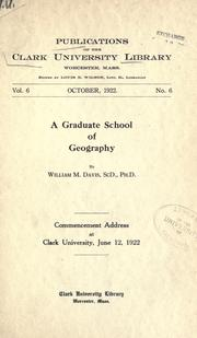 Cover of: A graduate school of geography