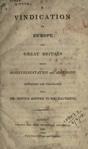 Cover of: A vindication of Europe and Great Britain from misrepresentation and aspersion