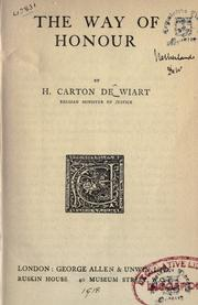 Cover of: The way of honour by Carton de Wiart, Henry Comte