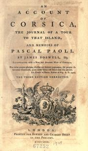 Cover of: An account of Corsica | James Boswell