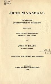 Cover of: Complete constitutional decisions | John Marshall