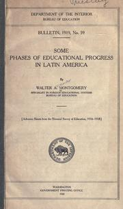 Cover of: Some phases of educational progress in Latin America