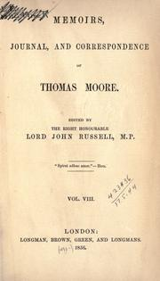 Cover of: Memoirs, journal, and correspondence of Thomas Moore