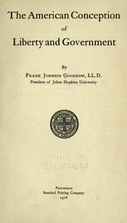 Cover of: The American conception of liberty and government