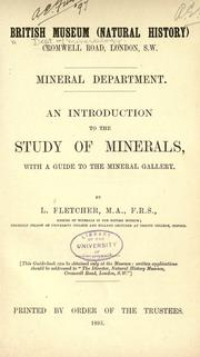 An introduction to the study of minerals by British Museum (Natural History). Dept. of Mineralogy.