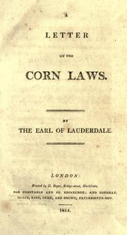 Cover of: A letter on the corn laws