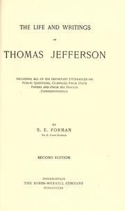 Cover of: The life and writings of Thomas Jefferson | Forman, Samuel Eagle