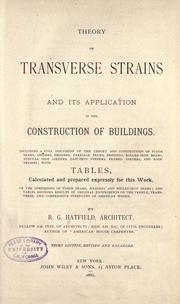 Cover of: Theory of transverse strains and its application in the construction of buildings