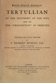 "Cover of: Tertullian On the testimony of the soul and On the ""prescription"" of heretics"