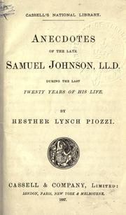 Cover of: Anecdotes of the late Samuel Johnson during the last twenty years of his life