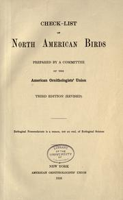 Check-list of North American birds by American Ornithologists' Union.