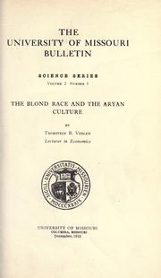 Cover of: The blond race and the Aryan culture