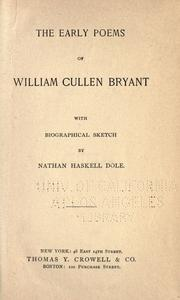 Cover of: The early poems of William Cullen Bryant