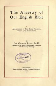 The ancestry of our English Bible by Ira Maurice Price
