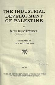 Cover of: The industrial development of Palestine