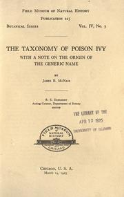Cover of: The taxonomy of poison ivy | McNair, James Birtley