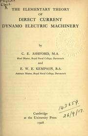 Cover of: The elementary theory of direct current dynamo electric machinery