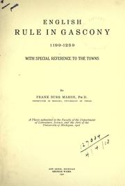 Cover of: English rule in Gascony, 1199-1259, with special reference to the towns