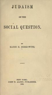 Cover of: Judaism on the social question