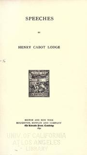 Cover of: Speeches: by Henry Cabot Lodge.