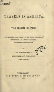 Cover of: Travels in America; The poetry of Pope