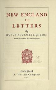 Cover of: New England in letters