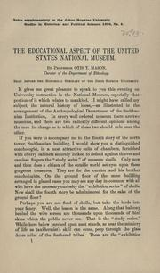 Cover of: The educational aspect of the United States national museum