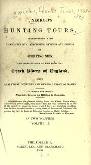 Cover of: Nimrod's hunting tours