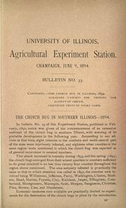 Cover of: The chinch bug in southern Illinois, 1894