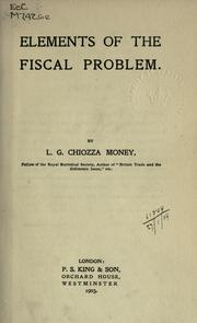 Cover of: Elements of the fiscal problem