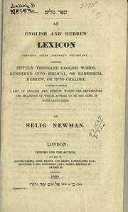 Cover of: An English and Hebrew lexicon composed after Johnson's directory