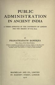 Cover of: Public administration in ancient India