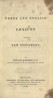 Cover of: A Greek and English lexicon of the New Testament