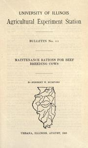 Maintenance rations for beef breeding cows by Herbert Windsor Mumford