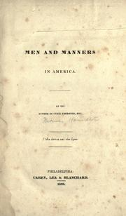 Men and manners in America by Thomas Hamilton