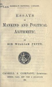 Cover of: Essays on mankind and political arithmetic