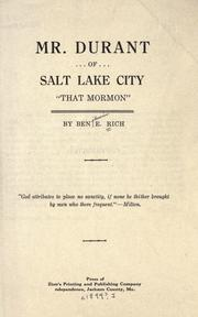 "Cover of: Mr. Durant of Salt Lake City, ""that Mormon,"" 